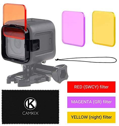 CamKix kompatibles Objektivfilter-Set für GoPro HERO 4 Black, Silver HERO+ HERO+ LCD, HERO and 3+- Verbessert die Farben bei verschiedenen Unterwasser-Videos und Fotografien - Beinhaltet 5 Filter für lebendige Farben, verbesserte Kontraste, Nachtsicht (Passt nur auf dem Standard-Gehäuse) (Filter Farbe)