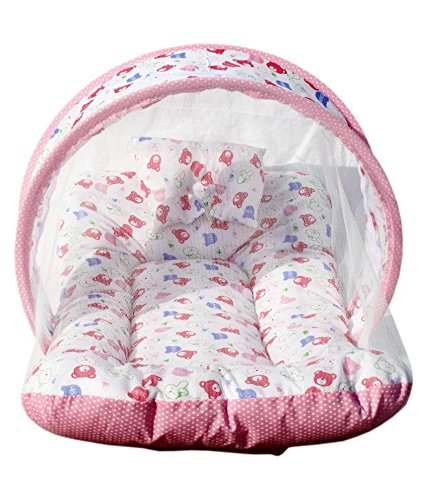 Shahji Creation Baby Mattress with Mosquito Net Portable Foldable printed multicolor Polyester bed