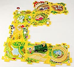 Ideas In Life Puzzle Track Play Set Battery Operated Toy Vehicle & Floor Puzzle Play Mat 16 Pc Sets Available In Different Themes Vehicles Run On Track Tracks Are Interchangeable Create Up To 50 Combinations Perfect For Preschoolers