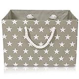 Faltbare graue Canvas Ablagekorb - hochwertige Rechteck Stoff Korb mit weißen Sternen - perfekt für den Haushalt Lagerung, Stoffe oder Spielzeug. Größe: Breite 42 cm x Tiefe 32 cm x Höhe 28 cm