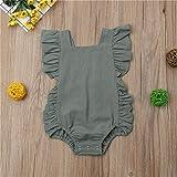 Wang-RX Neugeborenes Mädchen gekräuselte einfarbige ärmellose rückenfreie Strampler Overall Outfit Sunsuit