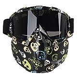 Máscara con gafas resistente al viento multifunción Aolvo para motocicleta/airsoft/CS/paintball/esquí/moto de nieve/equitación/bicicleta para niños y adultos, Skeleton