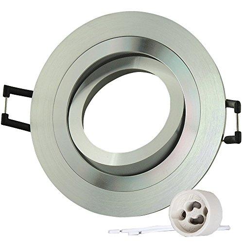 Lu-Mi 10er LED Einbaustrahler Set 230V ALU Einbaurahmen Schwenkbar inkl. GU10 Fassung für Halogen und LED Strahler Silber Rund