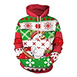 Weihnachten mit Kapuze Sweatshirt 3D gedruckt Winter Sweat Shirt Langarm lose Hoodie Taschen Top SB101-038 (Color : Red, Size : XL)