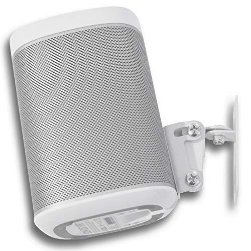 SONOS Play 1 Wandbefestigung, Anpassungsfähiger Drehpunkt & Neigungsmechanismus, Einzelhalterung für Play:1 Lautsprecher mit Befestigungszubehör, Weiß, In GB durch Soundbass® gestaltet