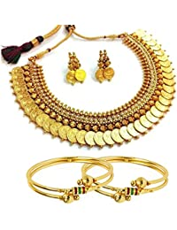 Penny Jewels Antique Traditional Fancy Stylish Golden Simple Necklace With Bangles Set For Women & Girls