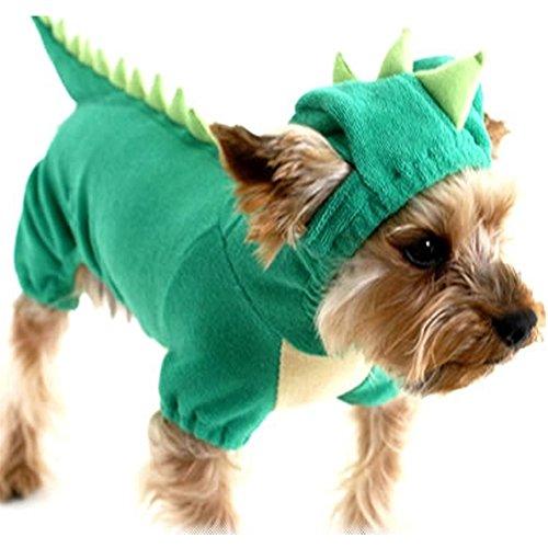 NACOCO Samt Dinosaurier Design Kostüm Hund Welpen Kleidung, L, Grün