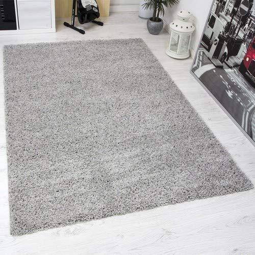 VIMODA Prime Shaggy Grau Hochflor Langflor Modern für Wohnzimmer Schlafzimmer Einfarbig, Maße:120x170 cm Teppich, Polypropylen,