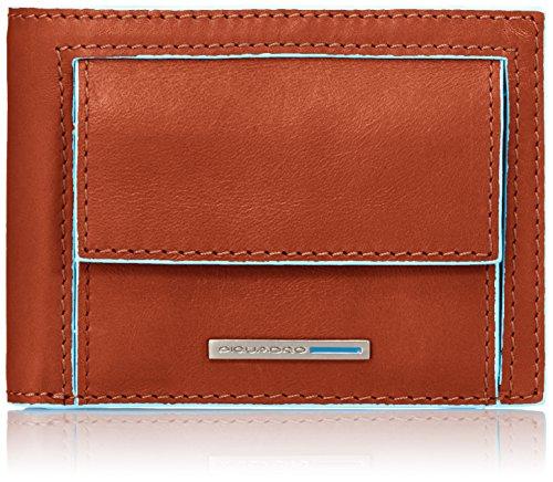 Piquadro PU3437B2/AR Blue Square Portafoglio, Arancione, 10 cm