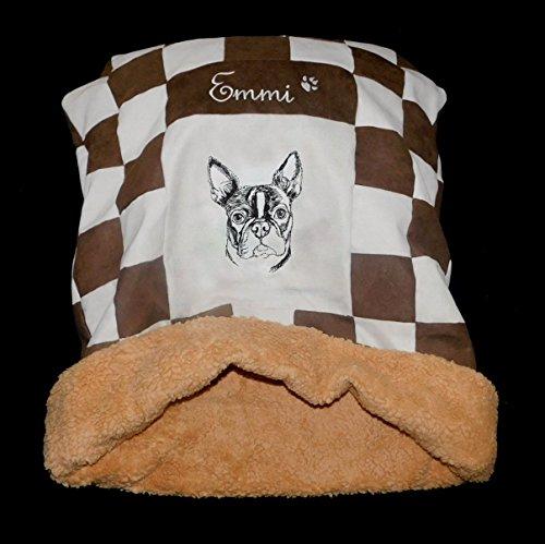LunaChild Hunde Kuschelhöhle Boston Terrier 1 braun creme Name Snuggle Bag Größe S M oder L in 14 Farben erhältlich (Bag Wildleder Boston)