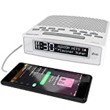 AZATOM Horizon DAB Digital Bedside FM Radio Alarm Clock - Bluetooth - Battery - USB Rapid Charge - Mains Powered - White