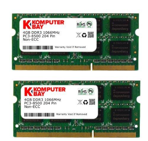 Komputerbay 8GB (2X4GB) DDR3 SODIMM (204 pin) mit Hynix Semiconductors 1066Mhz PC3 8500 für Apple 8 GB (7-7-7-20) gemacht - Ddr3 Pc3-8500 1066 Mhz Pc