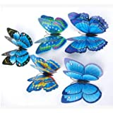 3d Butterfly Wall Sticker Window Sticker Bedroom Home Decor DIY Wallpaper Art Decals Fridge Magnets (Blue)