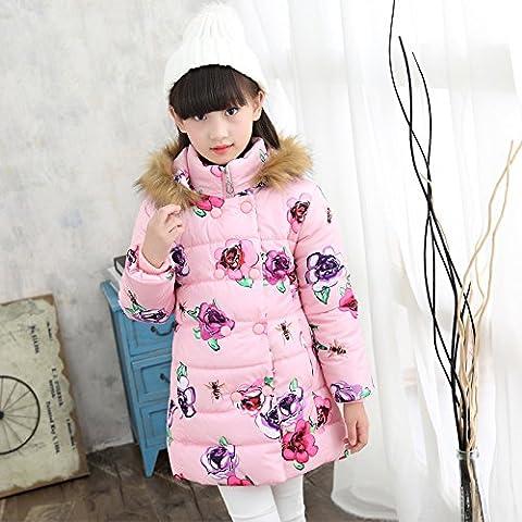 MYM chicas para niños acolchado o invierno nuevos grandes flores vírgenes de Europa y América con capucha de la chaqueta de invierno los modelos de marea , pink ,