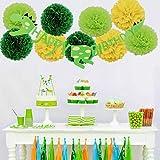 Set di decorazioni per feste a forma di dinosauro in carta verde, lanterne di carta, ghirlande glitterate, palloncini, coriandoli per feste per bambini