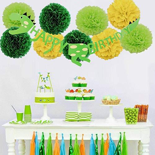 dream-cool Dinosaurier-Thema-Geburtstags-Party DIY Dekorations-Versorgungsmaterialien stellte für Kinder Bunte Dinosaurier-Ballone EIN , Gewebe-Pom Poms-Blumen , Alles Gute zum Geburtstagfahne (Pom Poms Diy-gewebe)
