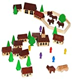 40 tlg. Set: Dorf mit Kirche, Häuser & Bäume, Pferdewagen, Figuren und Bausteine - aus Holz -...