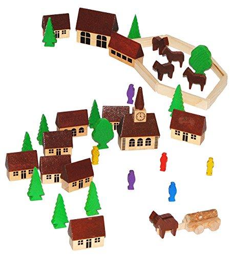 t: Dorf mit Kirche, Häuser & Bäume, Pferdewagen, Figuren und Bausteine - aus Holz - Baukasten - Original Erzgebirge - ideal für Holzeisenbahn Gebäud.. ()
