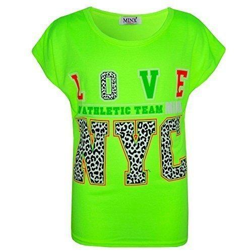 Preisvergleich Produktbild Kinder Mädchen LOVE Us Athletic Team NYC Bedruckt Modisch Bauchfreies Top 122 128 134 140 11 12 13 Jahre - Neongrün, 122-128