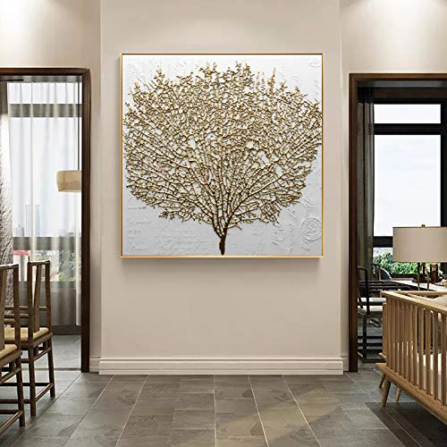 Wand Dekorative Malerei Poster Und Drucke Wandkunst Leinwand Malerei Abstrakte Goldene Baum Bilder Für Wohnzimmer Kein Rahmen 50x50 cm Kein Rahmen PC6553
