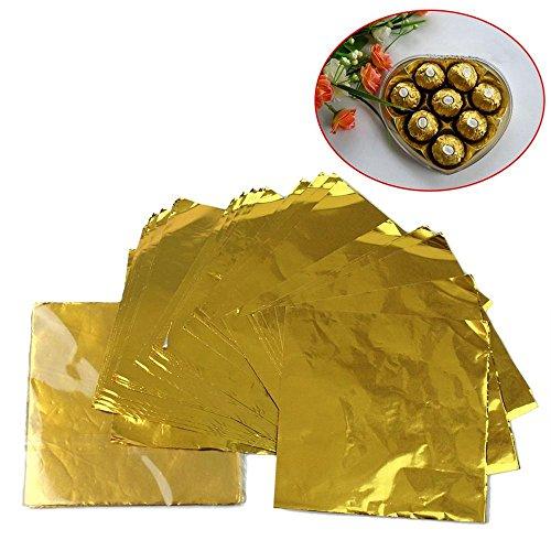 ICYANG 200 Stücke Süßigkeiten Paket Aluminiumfolie Papier Wrapper Schokolade Lolly Backen Folienverpackungen Geschenkpapier Weihnachtsfest Festival Dekoration DIY Tools, 8 CM X8 CM,Gold