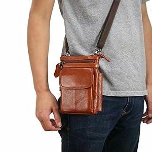 ae3ffbf3db Hengying Borsello da Uomo in Pelle Piccola Borsa Tracolla Clip da Cintura  Sacchetto per Smartphone 5'' 5.5'' Cellulari Viaggio Trekking