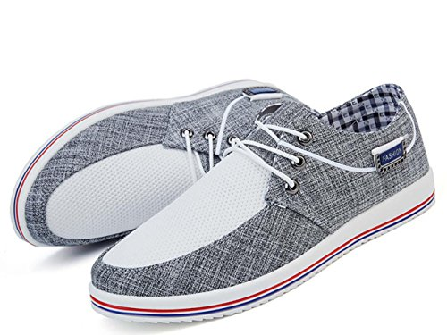 NobS Hommes Chaussures Chaussures de toile Caoutchouc Front Lace-Up Flats Spring Clogs Candy Couleur Respirant Net Fils Casual Chaussures Grey