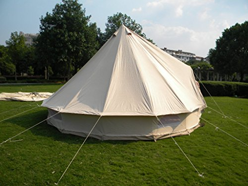 QEXAN 5X5M Bell Tent for 8-10 persons with Zipped in Groundsheet (Beige color)