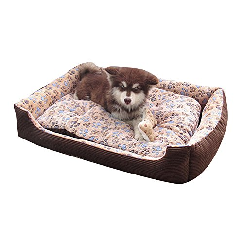 Cama Para Perro Lavable con Almohadas de Felpa Reversibles Cesta Rectangular Para Mascotas Colchoneta para Medianos Y Pequeños Cachorros o Gatos Café