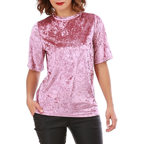 La Modeuse Top en Velours Brillant Muni de Manches 3/4 Rose