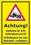 Video-Überwachung Schild - Gelände 24h videoüberwacht - 30x20cm mit Bohrlöchern | stabile 3mm starke Aluminiumverbundplatte – S00349-007-C – Kamera-Überwachung +++ in 20 Varianten erhältlich