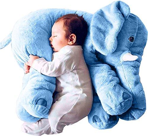 Minetom Bebé y Niños Confortable Suave Peluche Almohada de Felpa Elefante Peluche Animal Cojin Azul SmallSize(40cm)
