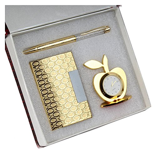 Far Vision 3 in 1 corporate Gift Set of Golden Apple Clock with Crystal Pen And Business Card Holder with premium packaging . ON SALE NOW !