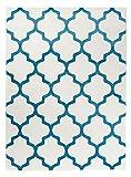 Orientalisches Marokkanisches Teppich - Dichter und Dicker Flor Modern Designer Muster - Ideal Für Ihre Wohnzimmer Schlafzimmer Esszimmer - Weiß Blau - 60 x 100 cm Casablanca Kollektion von Carpeto