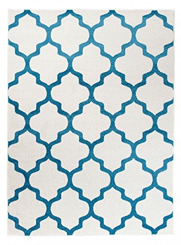 Tapiso Alfombra De Salón Moderna Colección Marroquí – Color Crema Azúl De Diseño Geométrico Enrejado – Mejor Calidad – Diferentes Dimensiones S-XXXL 140 x 190 cm