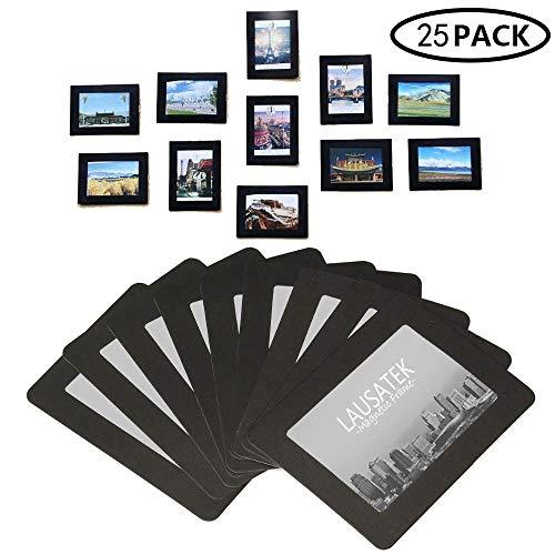 Lausatek Magnetische Foto Bild Rahmen und Kühlschrank Magnete, Pocket Rahmen für Kühlschrank, weiß, schwarz, hält 4x 68,9x 12,7cm Fotos, 10Stück, Metall, schwarz, 6