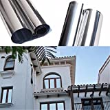 Ducomi Reflex - Protector Adhesivo para Ventana 60 x 100 cm - Película Reflectante para Protección Solar y Privacidad - Ideal para Oficina, Casa - Espadachín I Rayos Solares (1 Pieza)