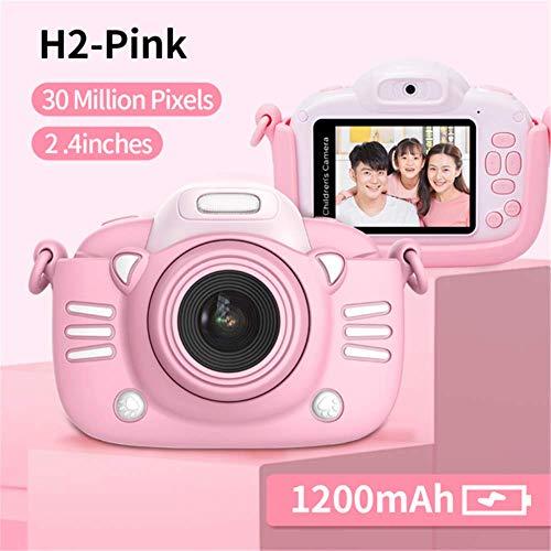 Enfants Appareil Photo numérique 30MP 2,4 Pouces IPS Écran 1080P HD Vidéo Selfie Mini SLR Jouet Caméra pour Enfants pour Cadeaux de Noël Minibear (H2-Pink)
