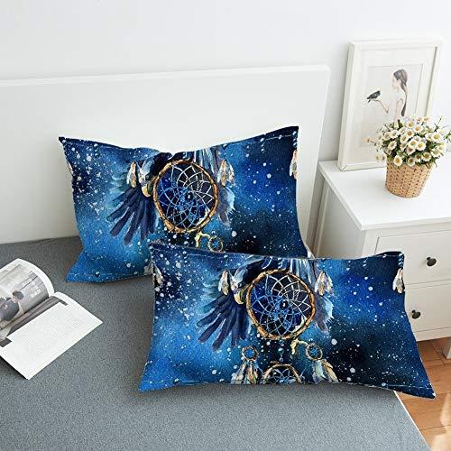 GD-SJK - Funda de cojín con diseño de atrapasueños Star River, 50 x 75 cm, Funda de cojín de poliéster Muy Suave, para sofá, salón, Decorativa, Color Azul, 50 * 90cm