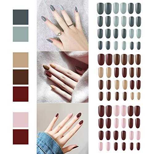 72 pezzi di unghie finte, Segbeauty copertura completa manicure unghie finte suggerimenti unghie artificiali multicolore di base kit fai da te con 6pcs unghie lime file (senza colla)