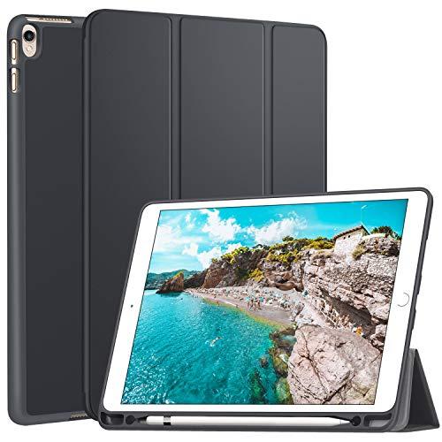 Ztotop Hülle für iPad Air 3 10,5 2019 & iPad Pro 10,5 Zoll 2017 Superleicht Soft TPU Rückseite Abdeckung Schutzhülle mit eingebautem ipad Pencil Halter, mit Auto Schlafen / Wachen, Grau