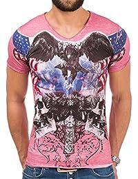 Carisma Herren T-Shirt kurzarm Shirt Prints Used-Look V-Ausschnitt