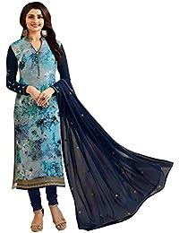 TF Prachi Desai Georgette Brasso Dress Material (Blue,Free Size,Vinay-6363)