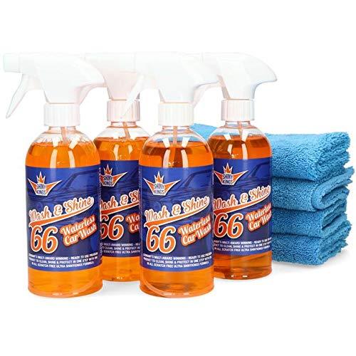4 x 0,5L Wash&Shine66 Shinykings California Trockenreiniger, Autowaschen ohne Wasser, Lackpflege Auto waschen ohne Wasser für Innen und Aussen alle Oberflächen Orangen Duft