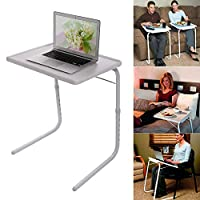 ‏‪Foldable Assembled Table TV Tray Portable Folding Snack Table - Adjustable Sofa Side Table, Bed Laptop Desk Table for Breakfast Home Use White‬‏