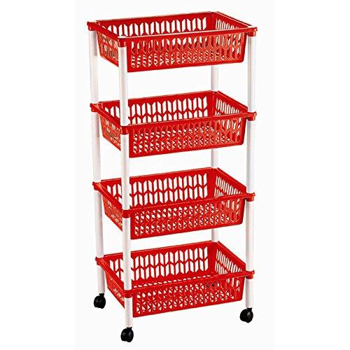 Ducomi Allzweckwagen für Büro, Küche & Bad - Rollregal aus Kunststoff- Küchenwagen - Nischenregal modern - Korbregal platzsparend (4 Körbe, Red)