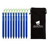 Geertop - Estacas de Aluminio Ligero para Tienda de Campaña, con Cordón Reflectante y Bolsa, 10 Unidades, Color Azul