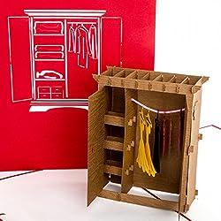"""POP UP 3D Karte """"Kleiderschrank"""" - lustiger Shopping-Gutschein, Einkaufsgutschein, Geburtstagskarte"""