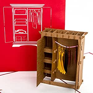 pop up 3d karte kleiderschrank lustiger shopping. Black Bedroom Furniture Sets. Home Design Ideas
