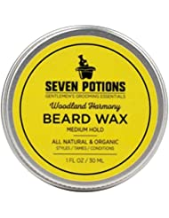 Beard Wax 30 ml. All Natural, Organic Beard Styling Wax For Medium Hold. Shape And Nourish Your Moustache and Beard While Looking Natural. Doesn't Make The Beard Stiff (Woodland Harmony)